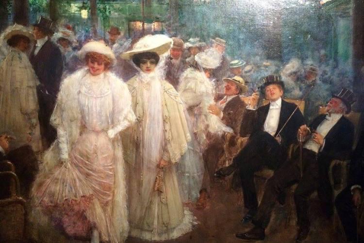 ean Béraud (1849-1936) Les belles de nuit au jardin de Paris, 1905 (détail)
